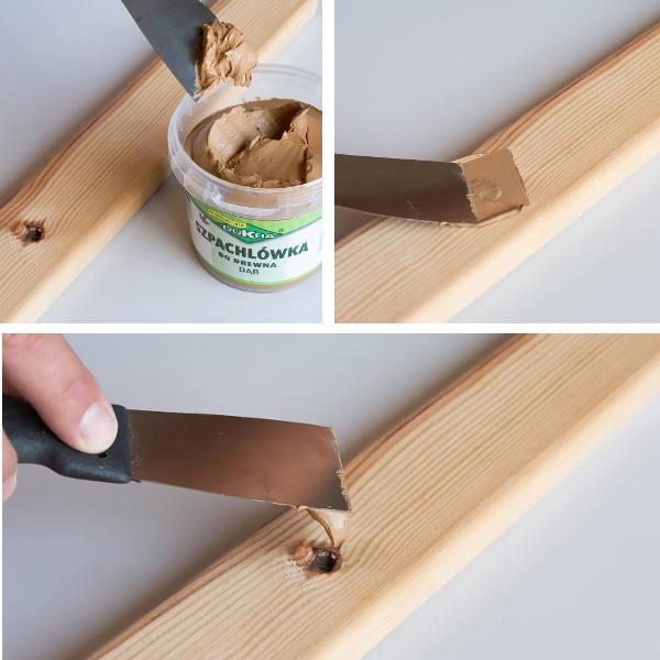 Zdjecie wypełniania szpachla ubutku w drewnie